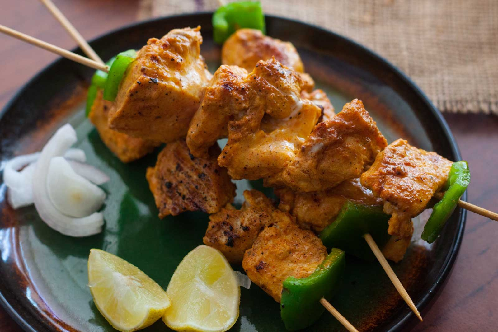 Chicken tikka recipe by archanas kitchen chicken tikka is a traditional recipe made from chicken that is marinated in a luscious red mixture and cooked in tandoor until charred forumfinder Image collections