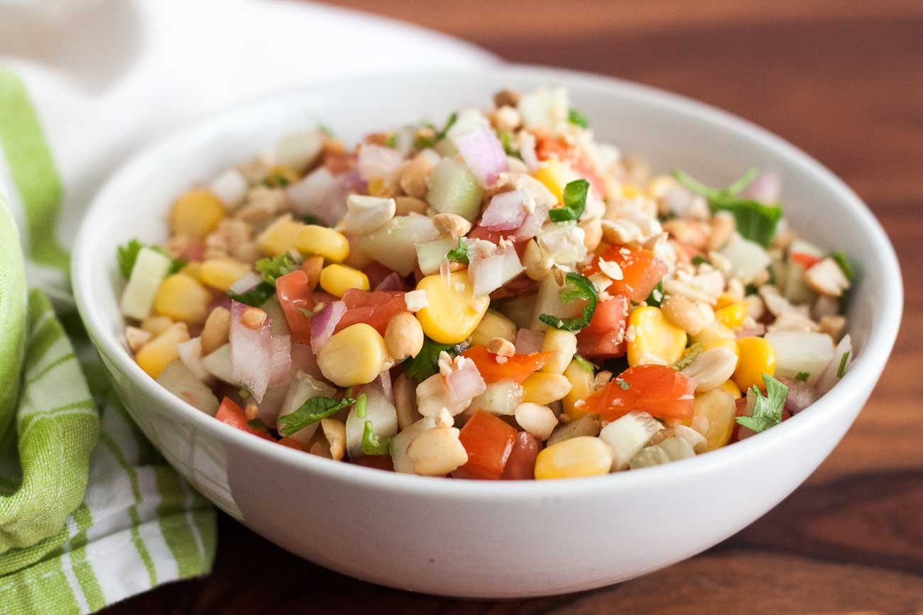 Cucumber Tomato Corn Peanut Salad With Lemon Recipe
