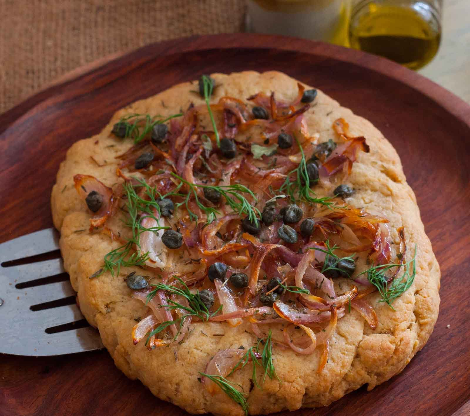 Focaccia Bread With Sweet Onion And Capers Recipe By Archana S Kitchen
