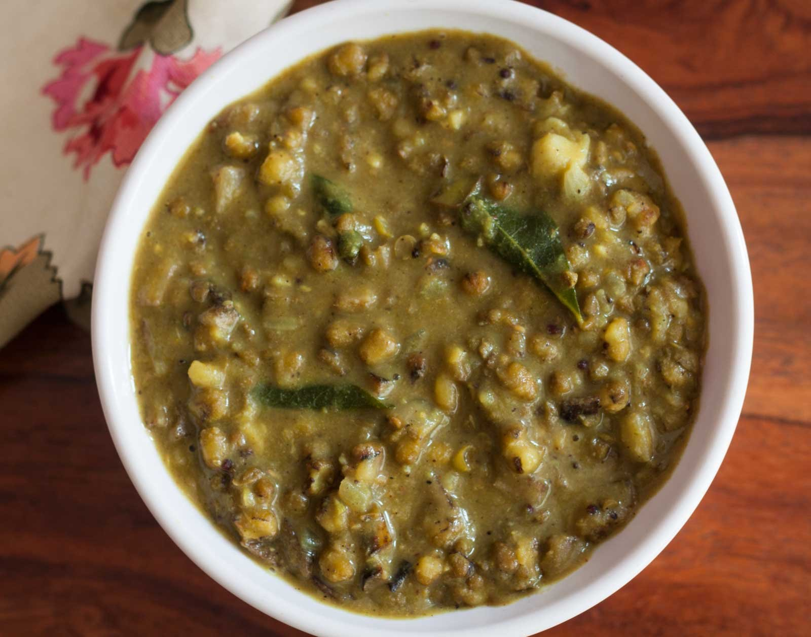 Green Moong Dal Kootu with Raw Banana Peel Recipe