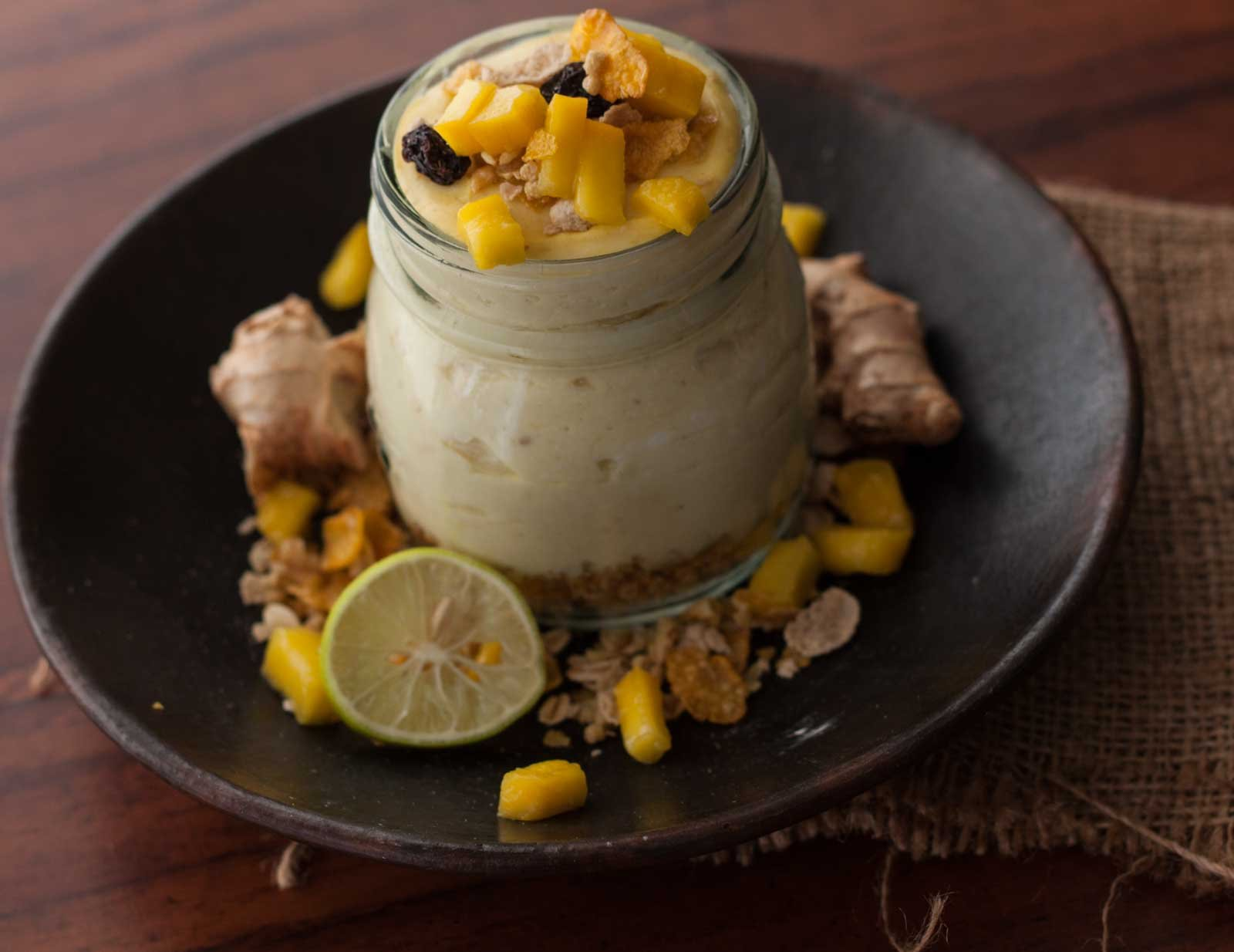 Mango Greek Yogurt Cheesecake with Muesli Crumble Recipe