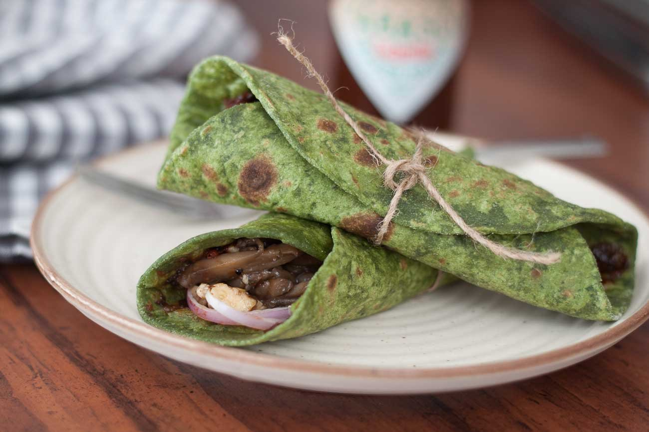 Paneer Mushroom Stuffed Spinach Wrap Flavoured With Prunes