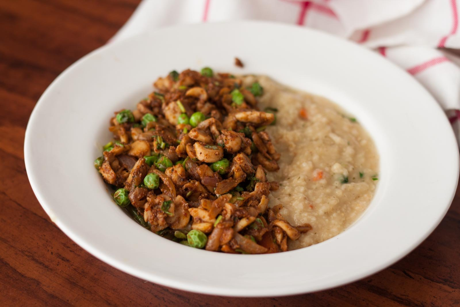 Savory Oatmeal Bowl with Chettinad Mushroom and Green Peas Stir Fry Recipe