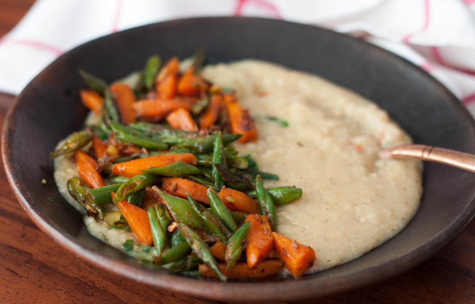Savory Oatmeal Bowl with Sautéed Carrot and Green Bean Recipe