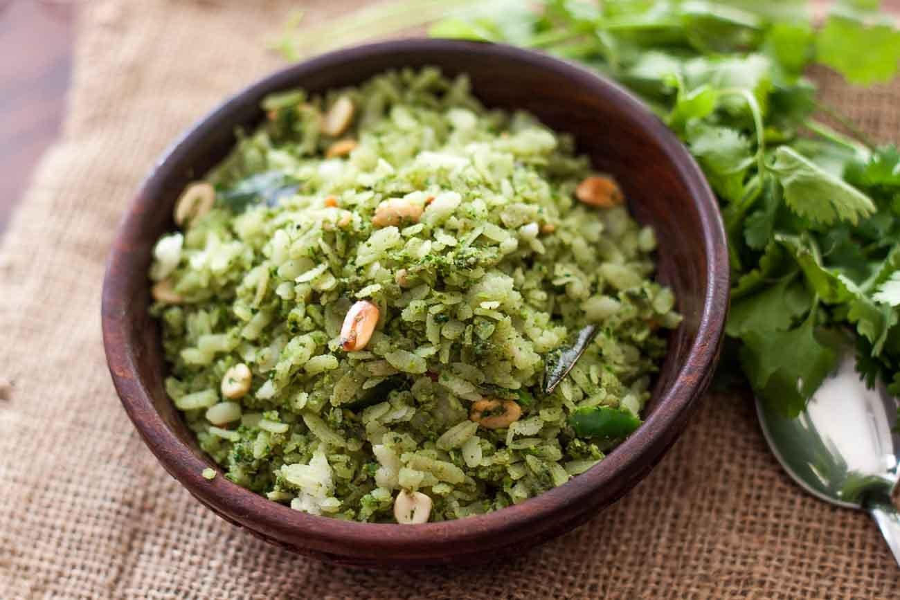 Tamil nadu style kothamali aval upma recipe by archanas kitchen tamil nadu style kothamali aval upma recipe coriander poha recipe forumfinder Images