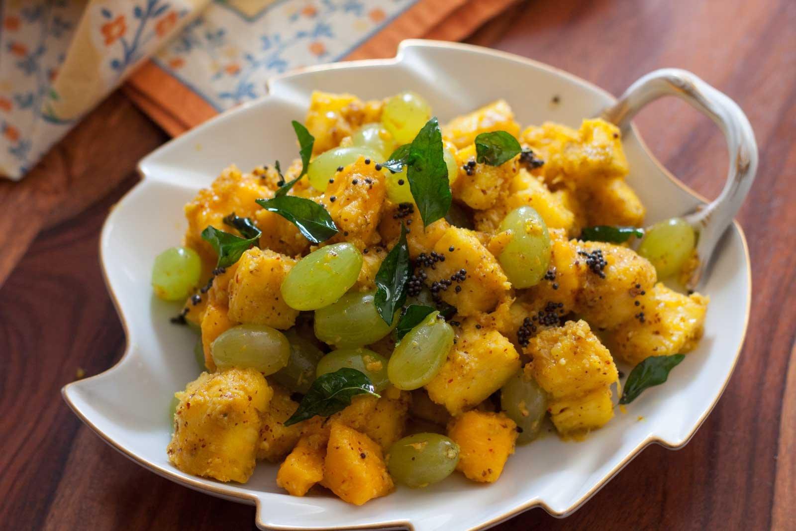 Konkani Style Avnas Ambe Sasam Recipe-Fruit Salad with Coconut