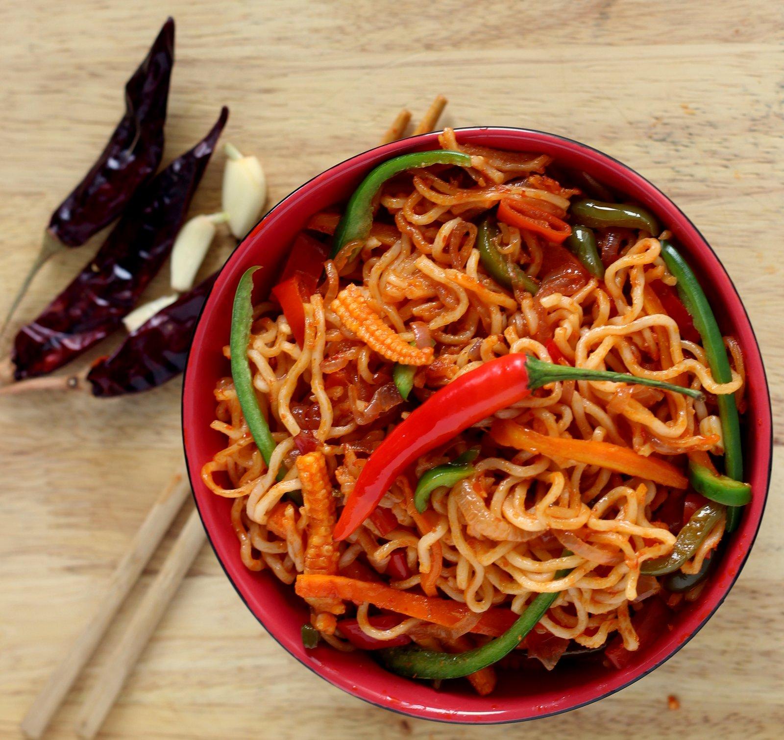 sambal spiced veggie mee goreng recipe by archana s kitchen