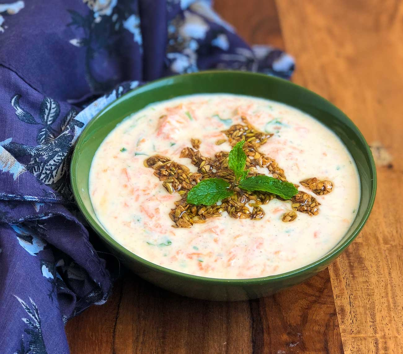 Carrot Tadka Raita Recipe- Crunchy Grated Carrot In Yogurt