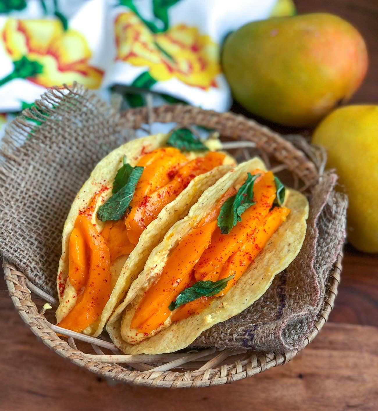 Mango Shrikhand Taco Recipe - Sweet Mango Yogurt Dip Taco