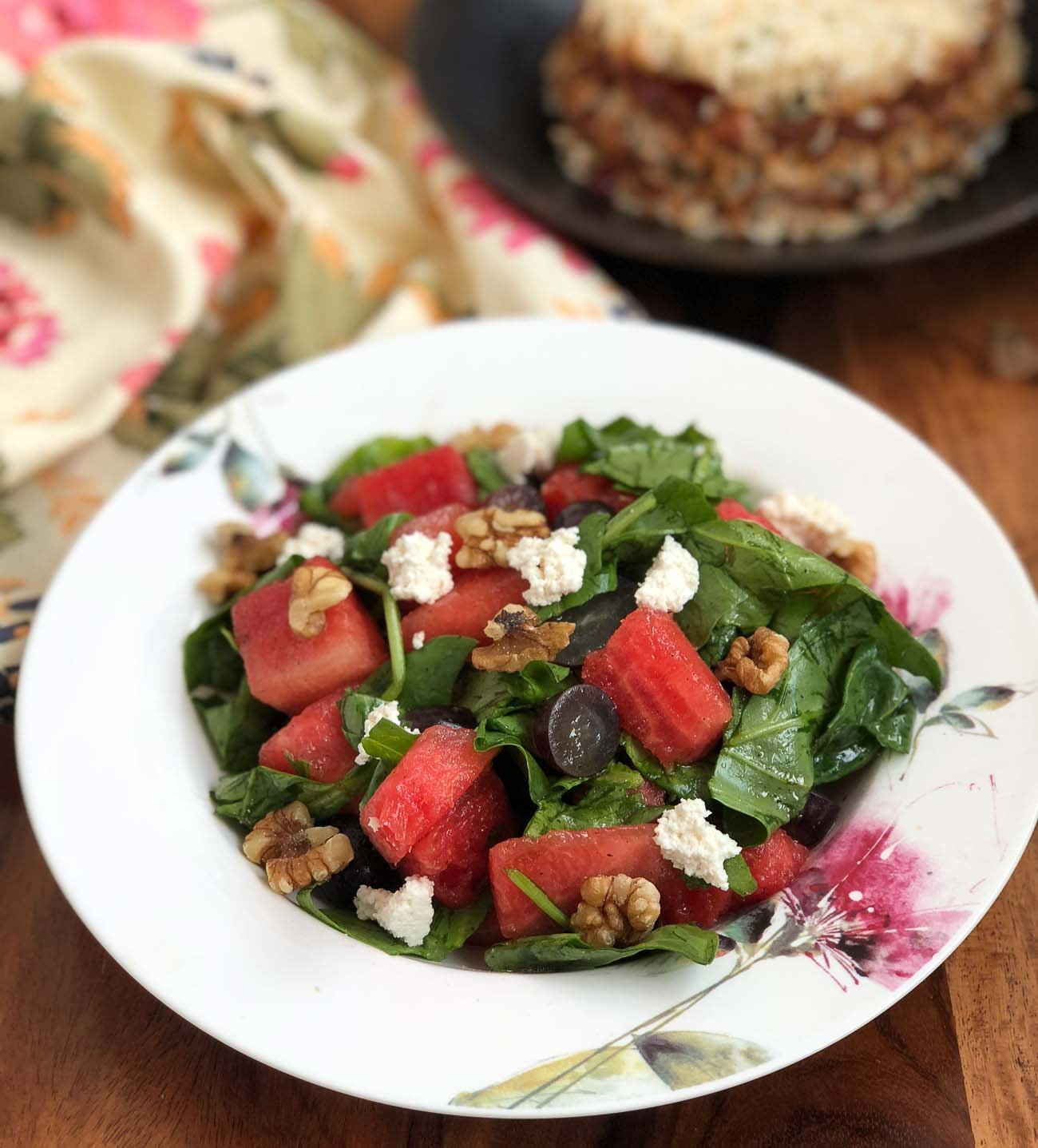 Spinach Watermelon Salad Recipe With Walnuts