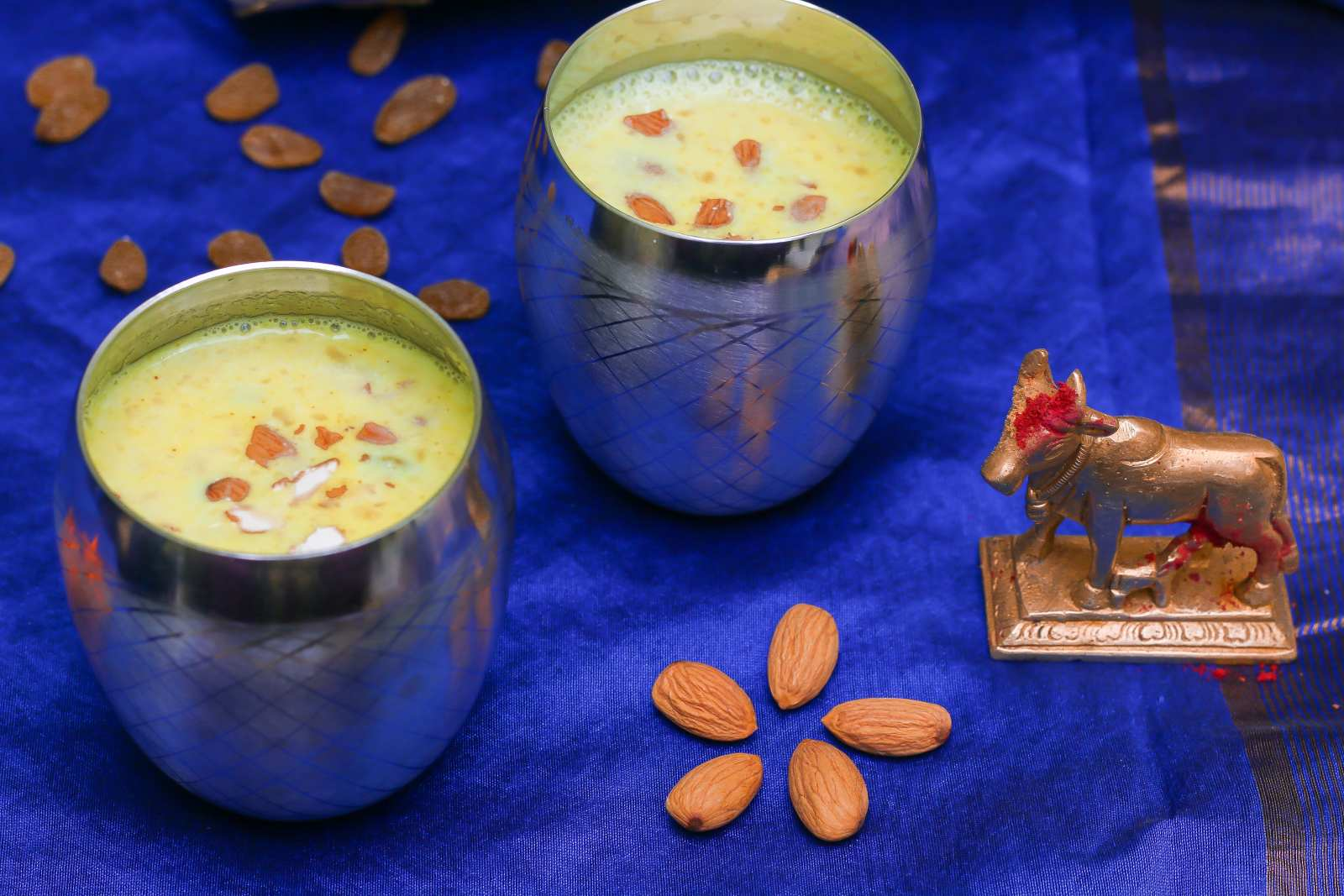 Rose Flavoured Golden Almond Milk Recipe - Badam Doodh