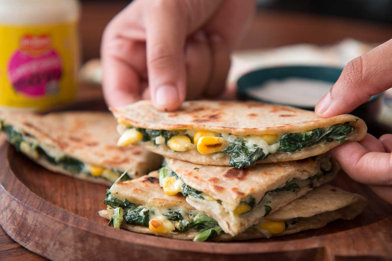 Spinach & Corn Quesadilla Recipe