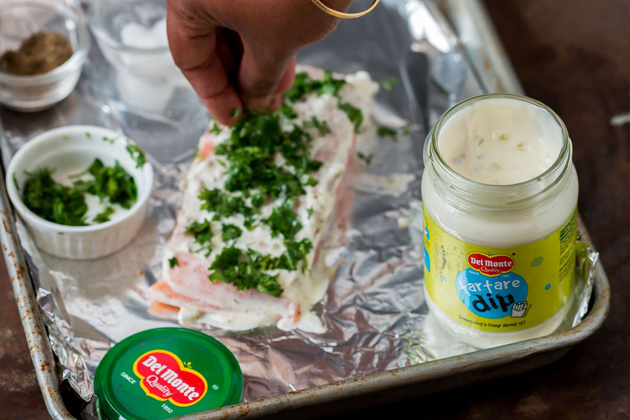 Baked Salmon Recipe Flavored with Herbs and Tartare Dip 3