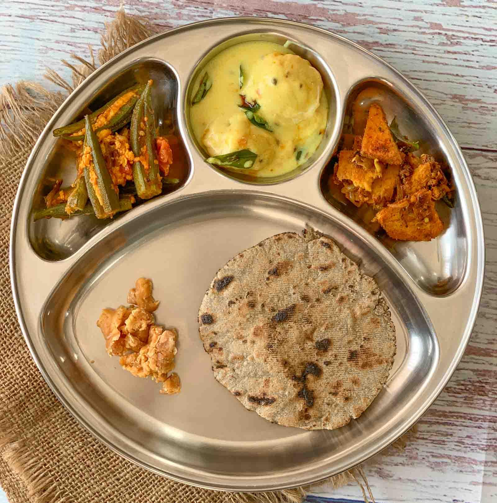 Portion Control Meal Plate-Khadi Bari, Stuffed Bhindi With Paneer,Suran Sukhi Sabzi & Bajra Roti