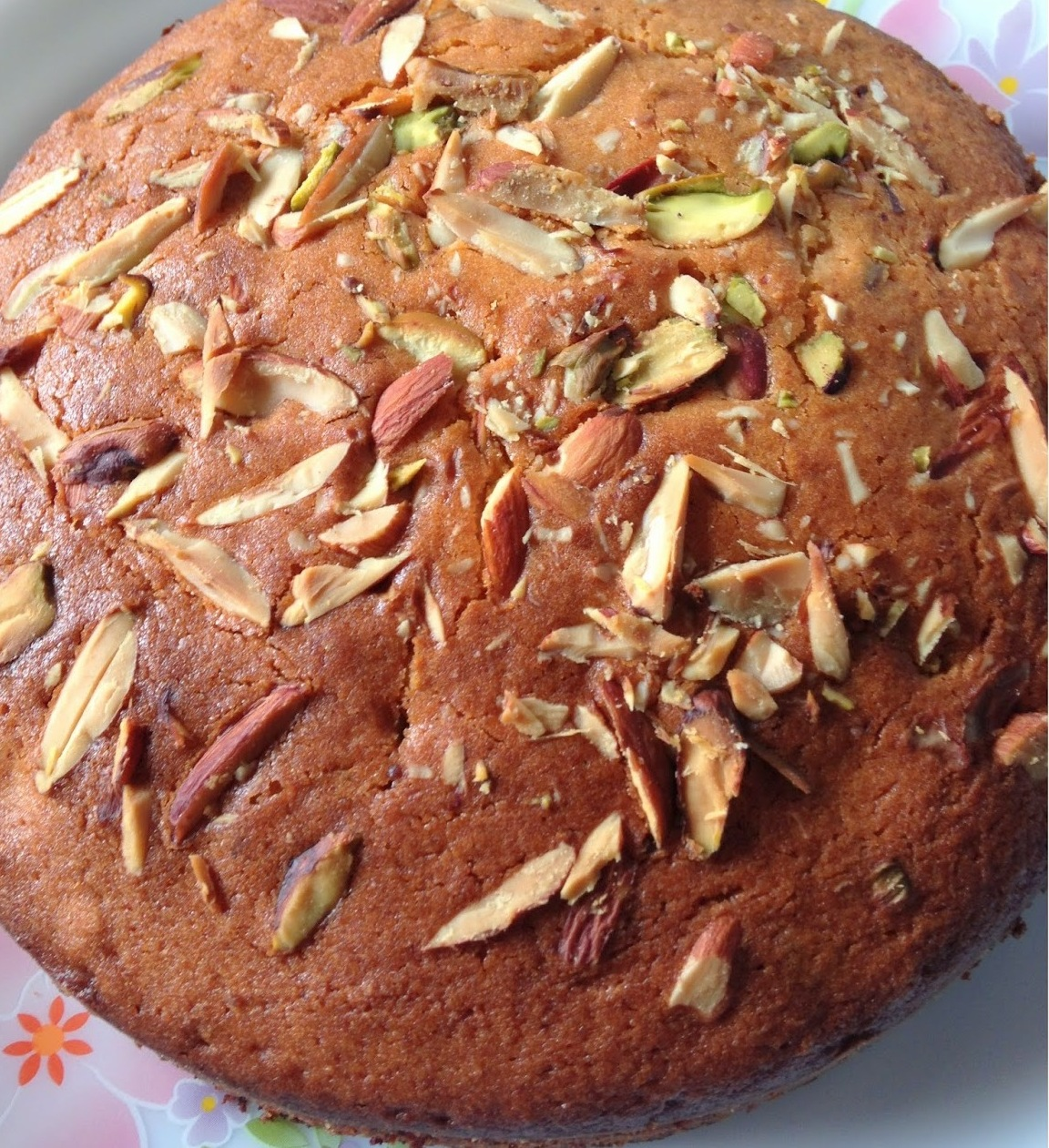 Eggless Whole wheat And Orange Almond Cake Recipe