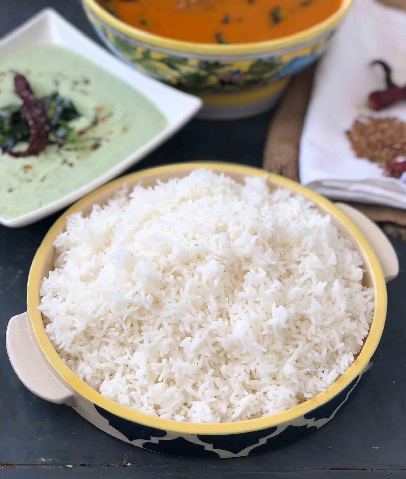 Steamed Rice Recipe - Pressure Cooker & Sauce Pan Methods