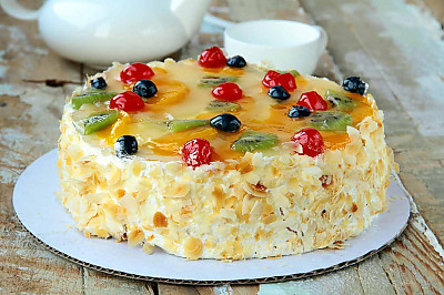 French Gateaux Recipe Layered Fruit And Cream Cake By Archana S