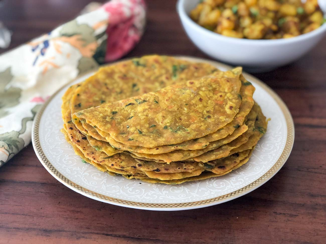 Carrot and Methi Thepla