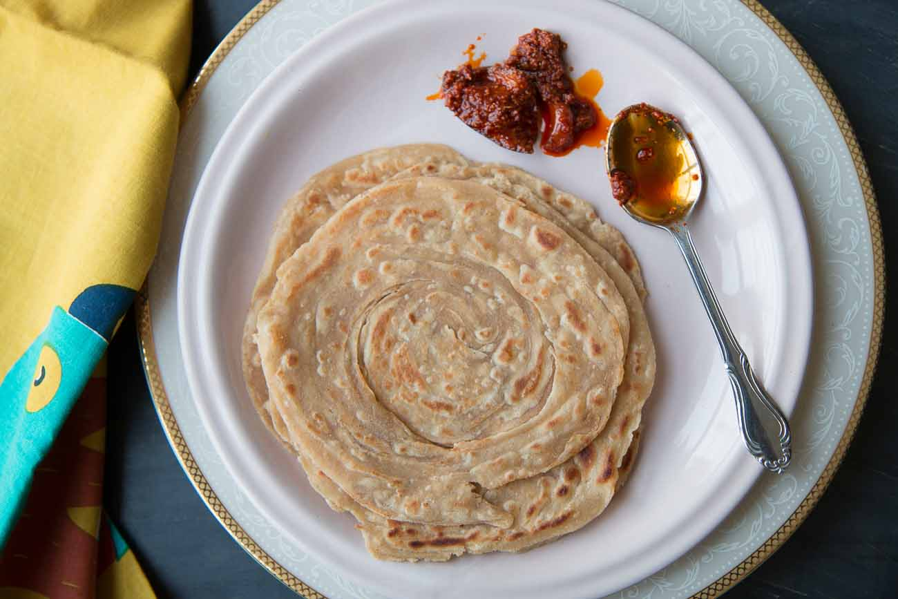 Whole Wheat Lachha Paratha Recipe-Multilayered Layered Indian Flat Bread