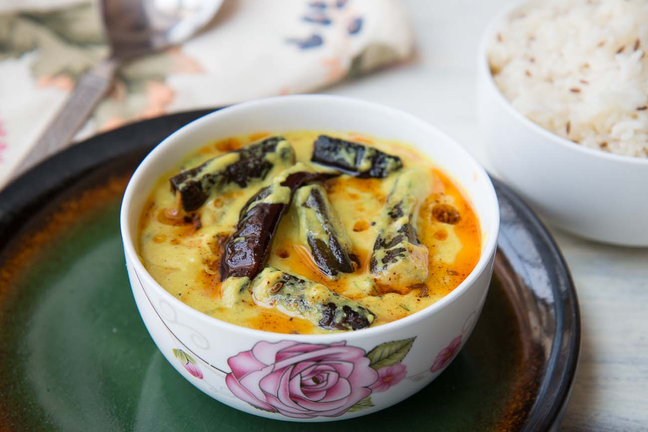 Punjabi Bhindi Kadhi Recipe - Roasted Okra In Yogurt Curry