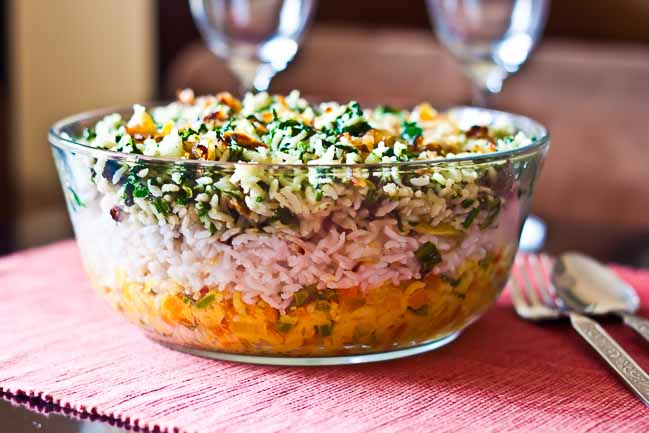 Layered vegetable tricolor biryani recipe by archanas kitchen layered vegetable tricolor biryani recipe forumfinder Images