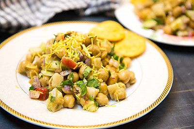 Kabuli Chana Chaat High Protein Snack Of Chickpea Chaat