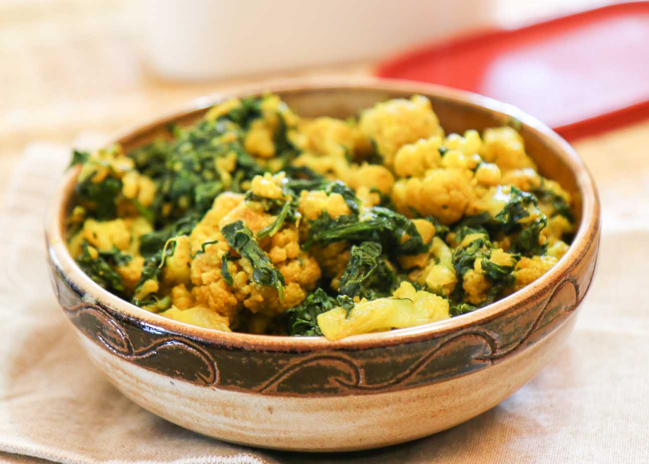 Palak gobi sabzi recipe indian style cauliflower with spinach by palak gobi sabzi recipe indian style cauliflower with spinach forumfinder Gallery