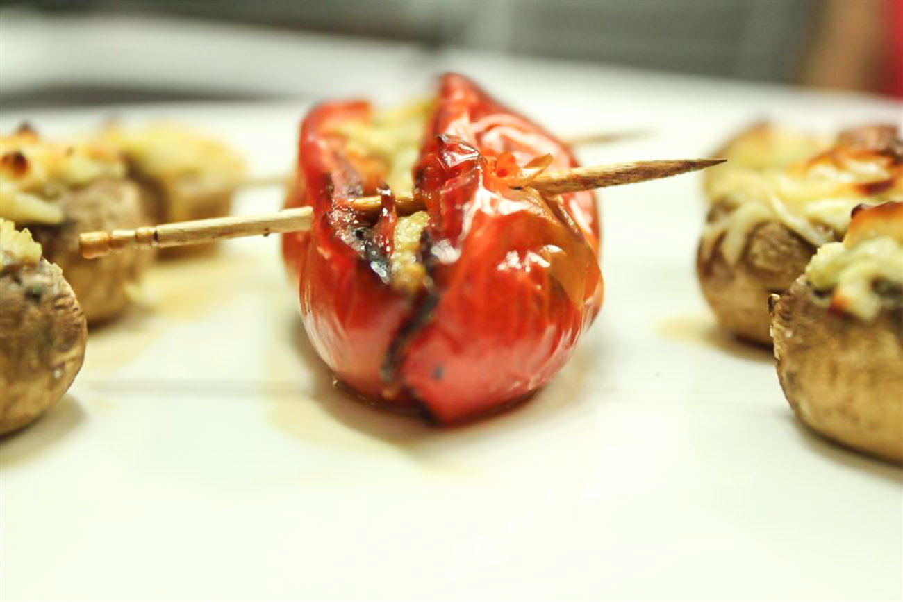 Vegetarian Stuffed Red Peppers With Pesto & Ricotta Cheese