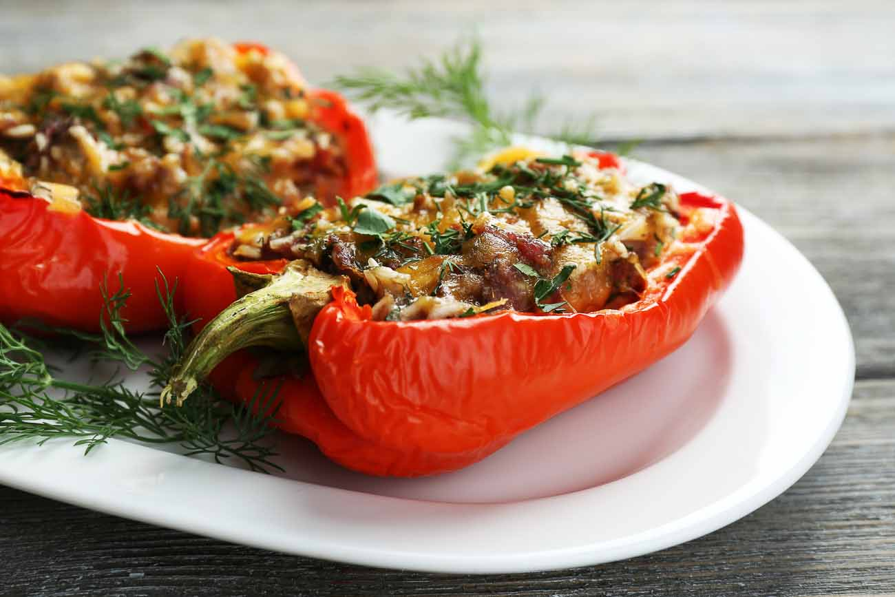 Mexican Inspired Vegetarian Oven Roasted Stuffed Pepper Recipe