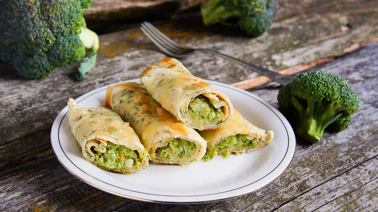 Broccoli & Cheese Filled Crepe Recipe (with Roasted Red Peppers)