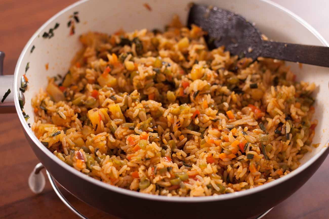 Thai Basil Vegetarian Fried Rice With Pineapple and Spicy Thai Red Chillies Recipe