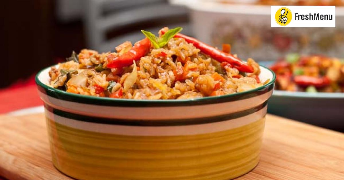 Thai basil vegetarian fried rice with pineapple and spicy thai red thai basil vegetarian fried rice with pineapple and spicy thai red chillies recipe by archanas kitchen forumfinder Choice Image