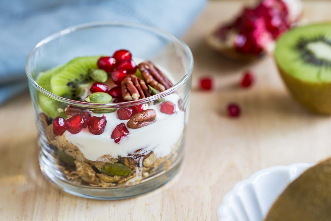 Granola Yogurt Parfait Recipe with Fresh Kiwi & Pomegranates