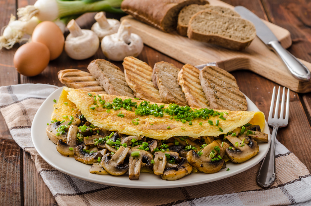 Herb & Cheese Mushroom Omelette Recipe