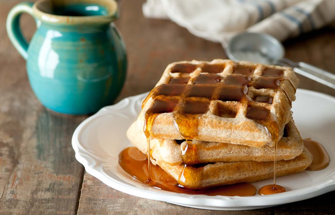 Ragi, Wheat & Oat Waffles Recipe With Maple Syrup