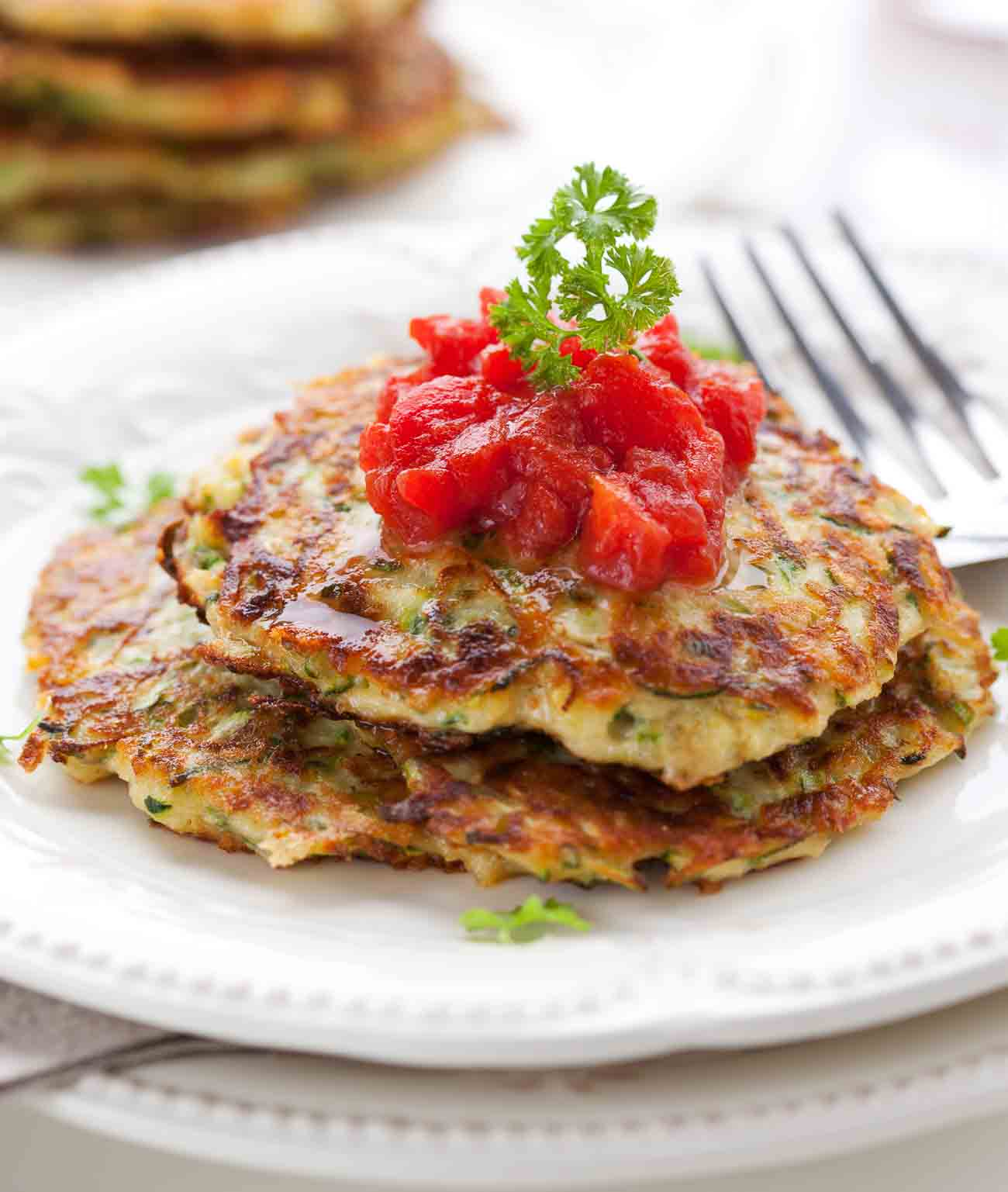 Zucchini Pancake Recipe With Tomato Salsa