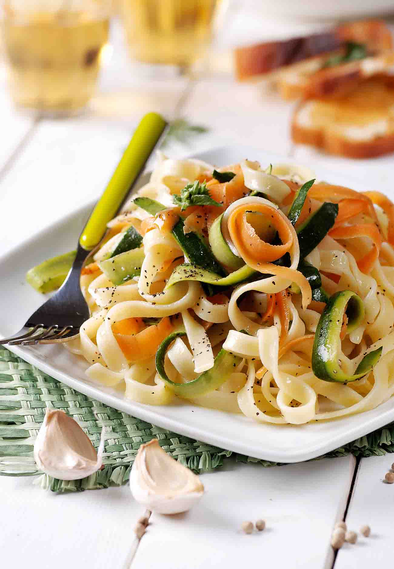Spring Vegetables Tagliatelle Pasta in Mustard Lemon Basil Sauce