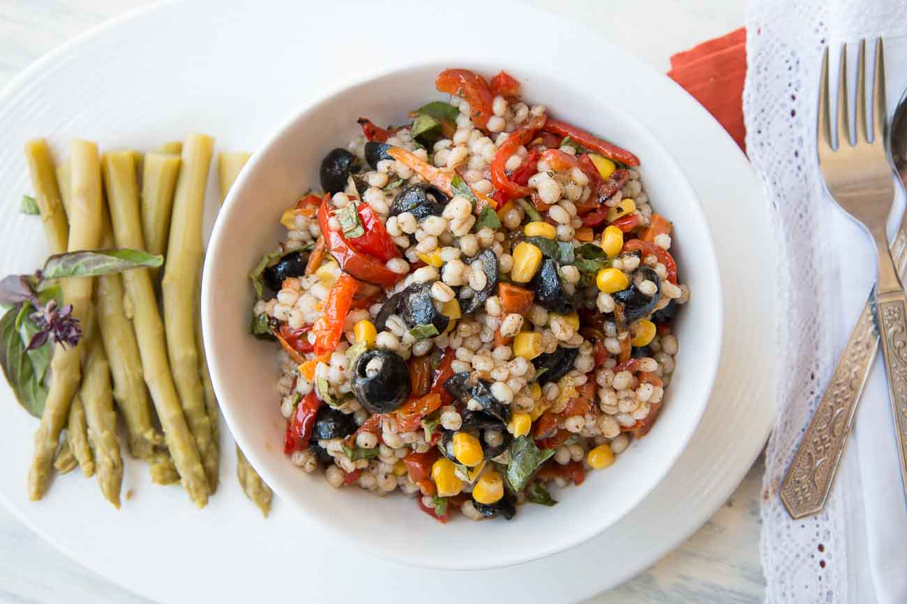 Barley Roasted Vegetable Skillet Salad (Mediterranean