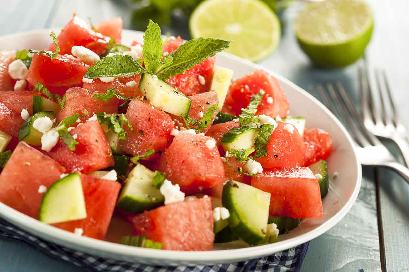 Savory Melon Salad Recipe - Spiced with Ginger & Mint