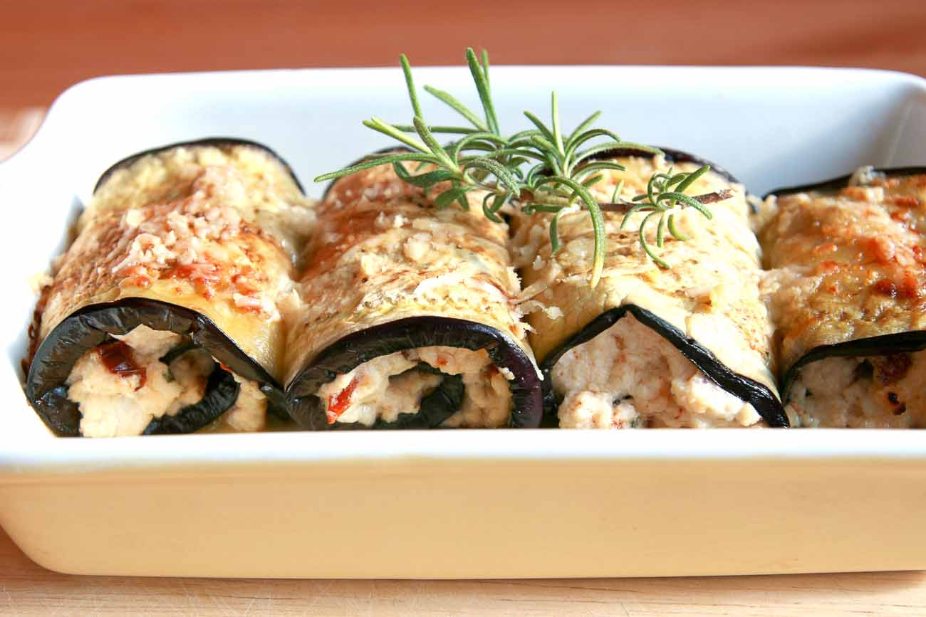 Stuffed Roasted Eggplant Rolls Recipe (With Sun Dried Tomatoes and Feta)