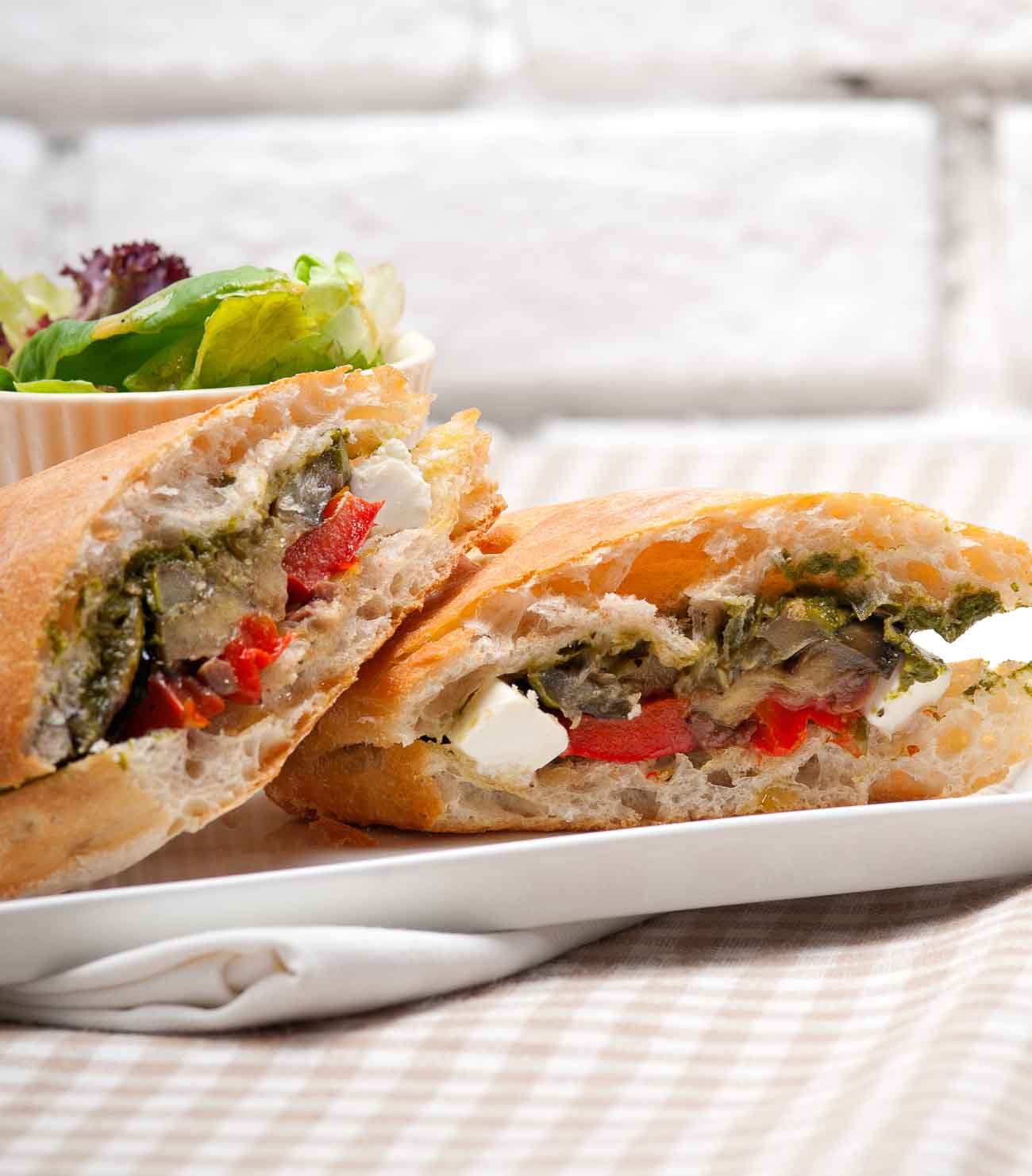 Roasted Vegetable Panini Sandwich With Feta Cheese Recipe