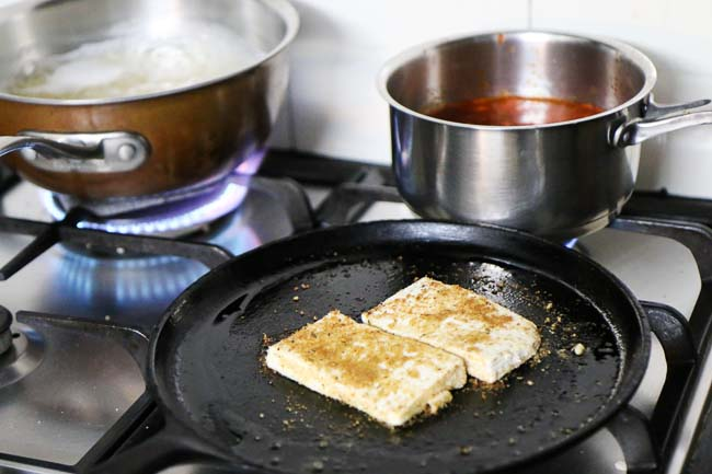 Preparations for the Tofu Parmigiana Recipe