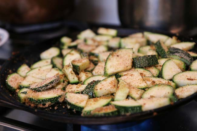 Pan Grilled Zucchini Tossed in Dried Herbs and Bread Crumbs