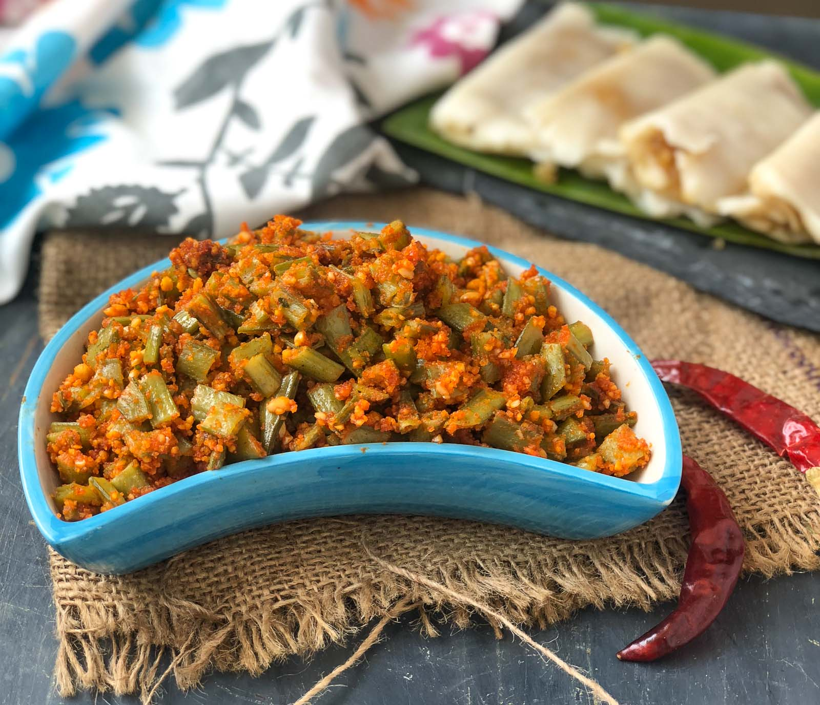 Goruchikkudu Kaya With Peanut Podi Recipe - Cluster Beans With Peanut
