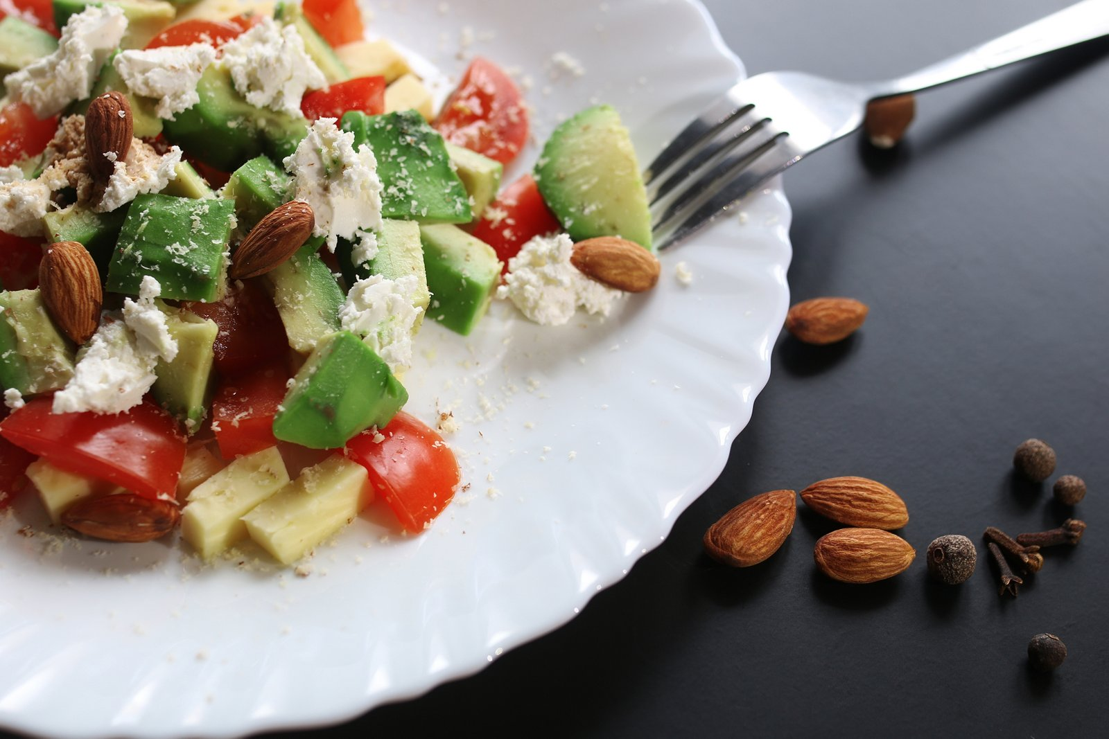 Avocado And Almond Salad Recipe With Feta Cheese