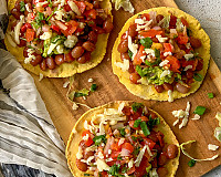 Black Bean & Guacamole Tostada - Open Faced Tacos Recipe