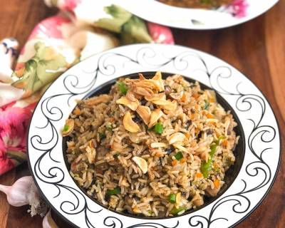 Burnt Garlic Mushroom Fried Rice Recipe