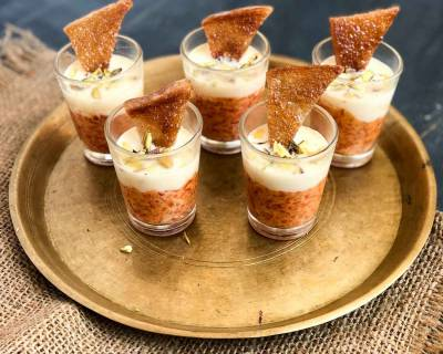Shahi Tukda Gajar Halwa Shots With Rabri Recipe