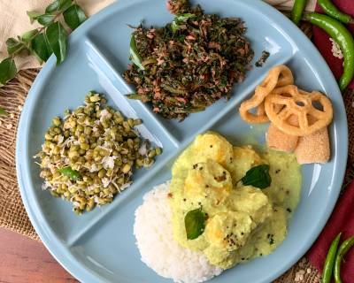 Enjoy This Ayurvedic Meal Of Sprouts Sundal, Keerai Poriyal, Pulissery And Rice