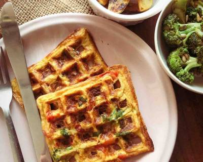Breakfast Meal Plate : Masala Omelette Waffle, Potato Wedges And Broccoli Stir Fry